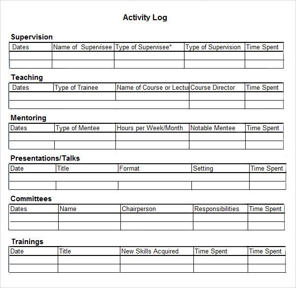 Task Tracker Excel  Activity Log Template    Template