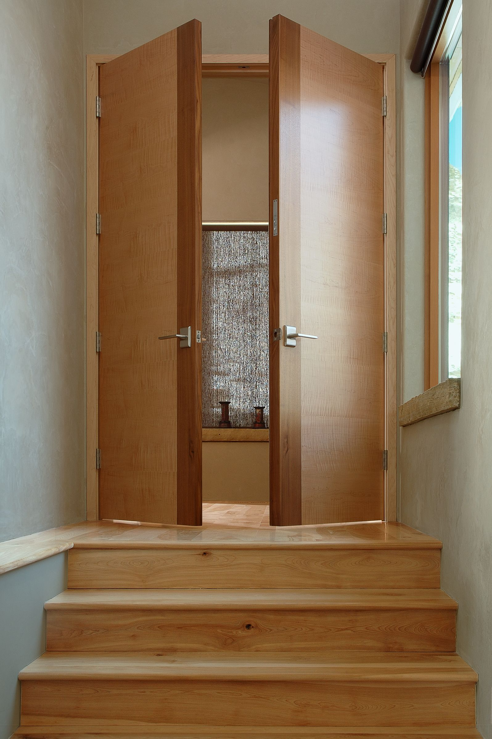 Golden Contemporary Interior Double Door Square Top Rail Hard