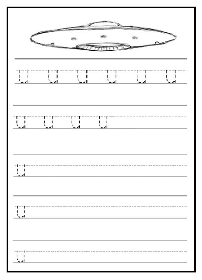 Trace And Write Lowercase Letter U Worksheet  Alphabet Worksheets