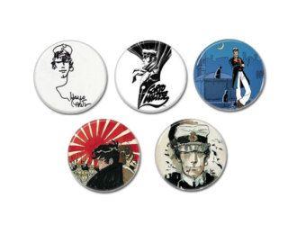Corto Maltés insignias, botones, pasadores de 5