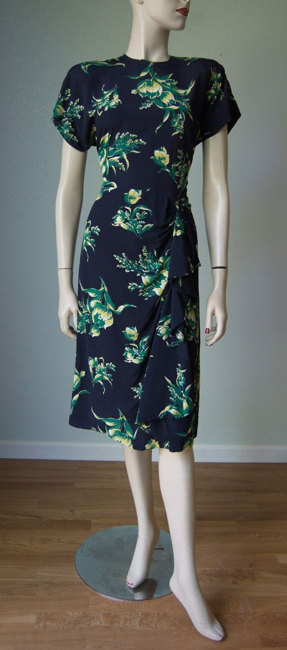 Vintage 1940s Color Block Swag Dress: Extremely Pretty 1940s Rayon Crepe Dress With Pleated Side
