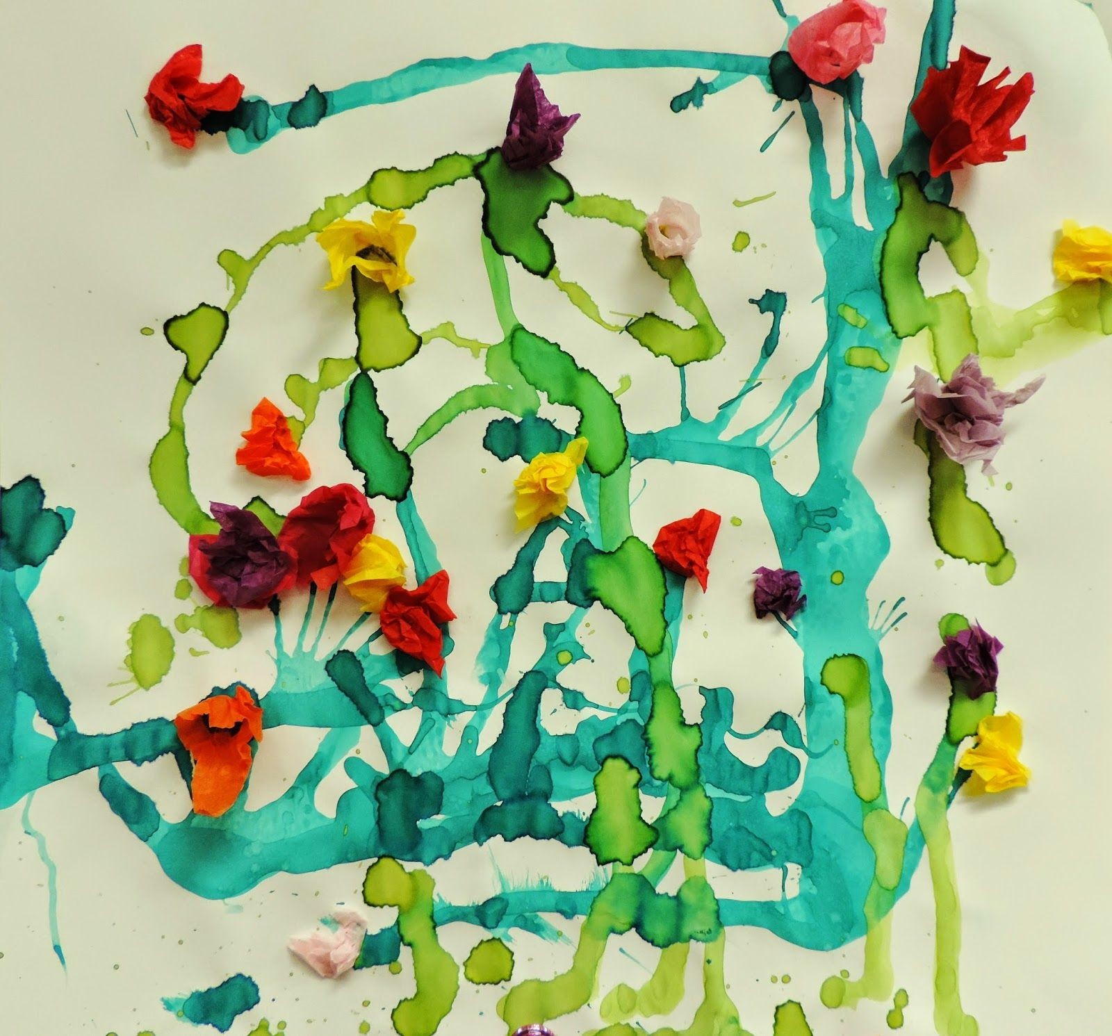 Painting With Wind! Garden Blow Painting With Watercolors And Tissue Paper.