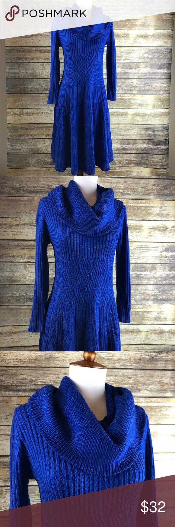 Eliza j sweater dress with cowl neck royal blue m eliza j royal