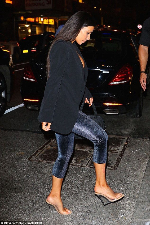 e5cca46fe1b28 Kim Kardashian barely contains her assets in sheer Gucci bra in NYC. Queen   The beautiful brunette hit the pavement in PVS wedges