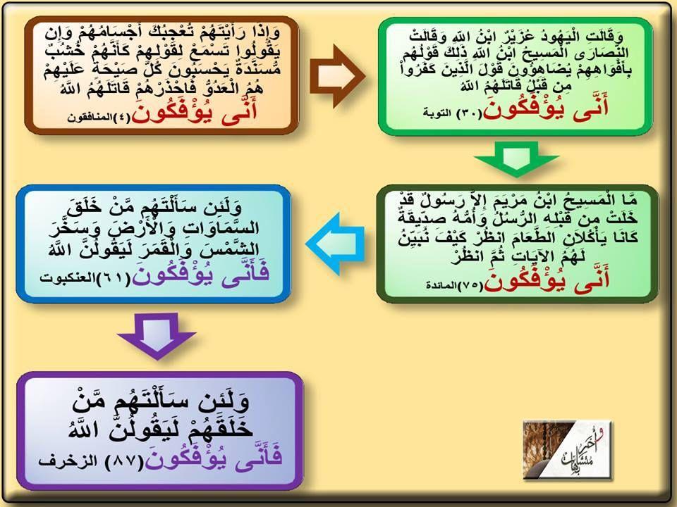 أنى يؤفكون ٣ مرات فى القرآن فى المائدة والتوبة والمنافقون فأنى يؤفكون مرتان فى القرآن فى العنكبوت والزخرف يؤفكون فيه ثلاثة تأويلات ١ أحدها يعني