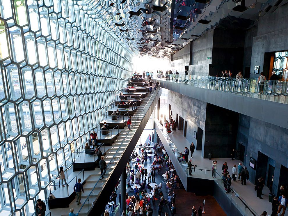 Picture of the lobby of the Harpa concert hall, Reykjavik, Iceland