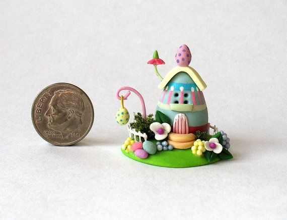 Miniature Easter Eggs Whimsy Cottage House by ArtisticSpirit