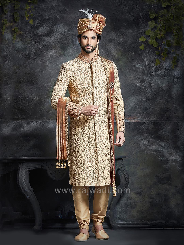 Golden silk embroidered sherwani rajwadi designer exclusive