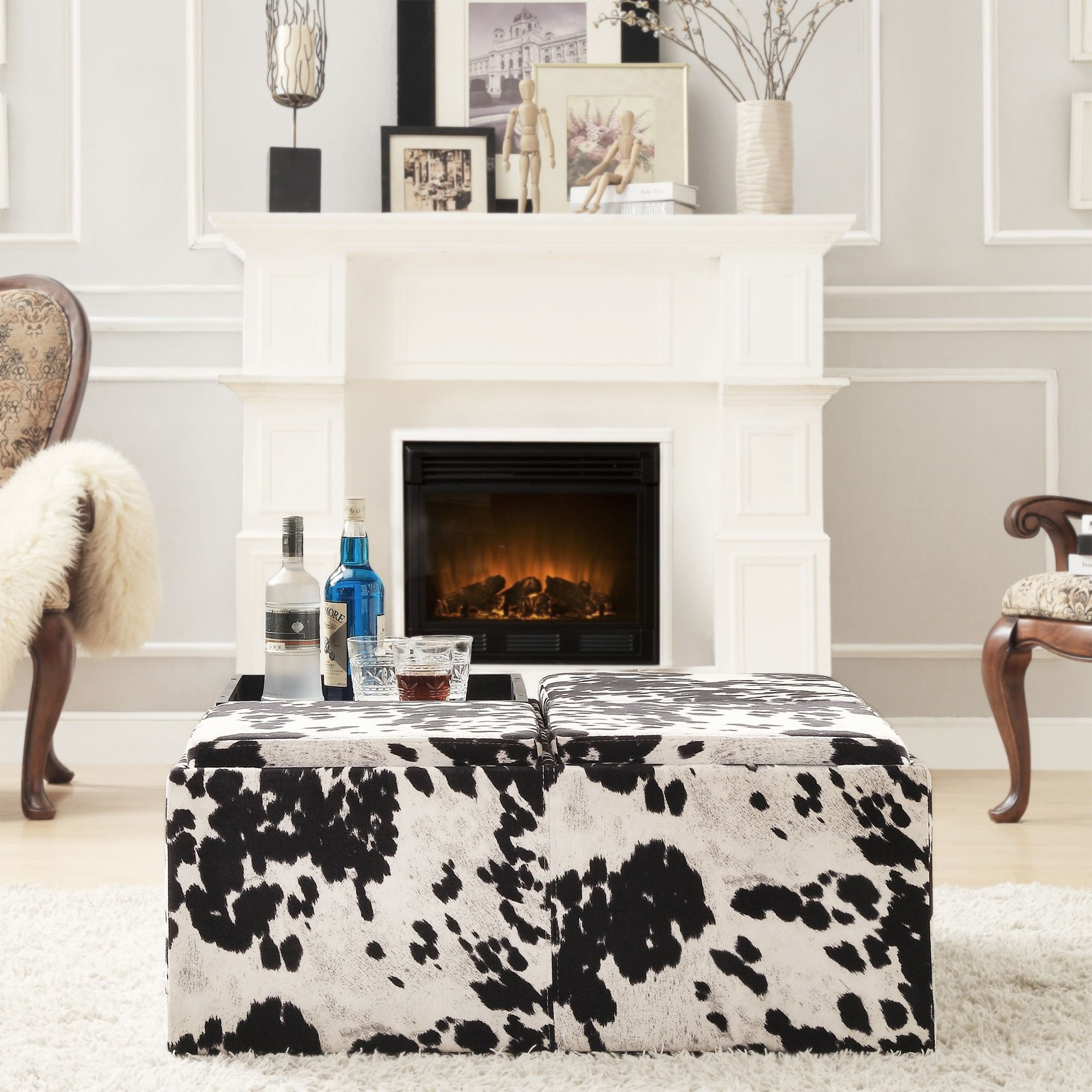 INSPIRE Q Montrose Black & White Faux Cow Hide Modern Storage Ottoman by  iNSPIRE Q
