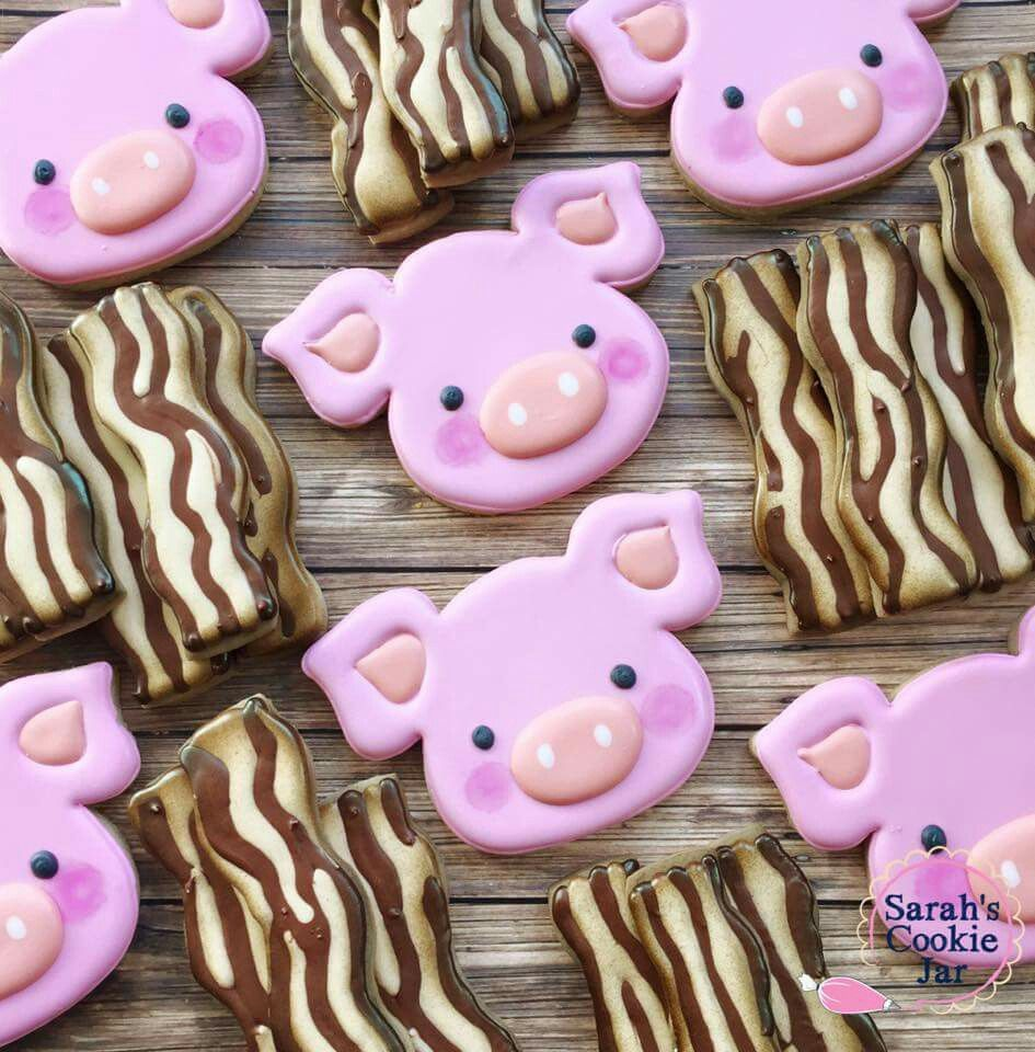 Pigs And Bacon Cookies Decorated Cookies Cookies Cookie
