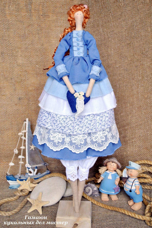 Купить Мари. Текстильная интерьерная кукла в стиле Тильда. - синий, тильда, тильда кукла