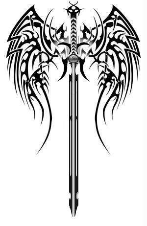 tribal wings sword tattoo version jpg 300 462 tattoos rh pinterest com tribal word tattoo generator tribal word tattoos