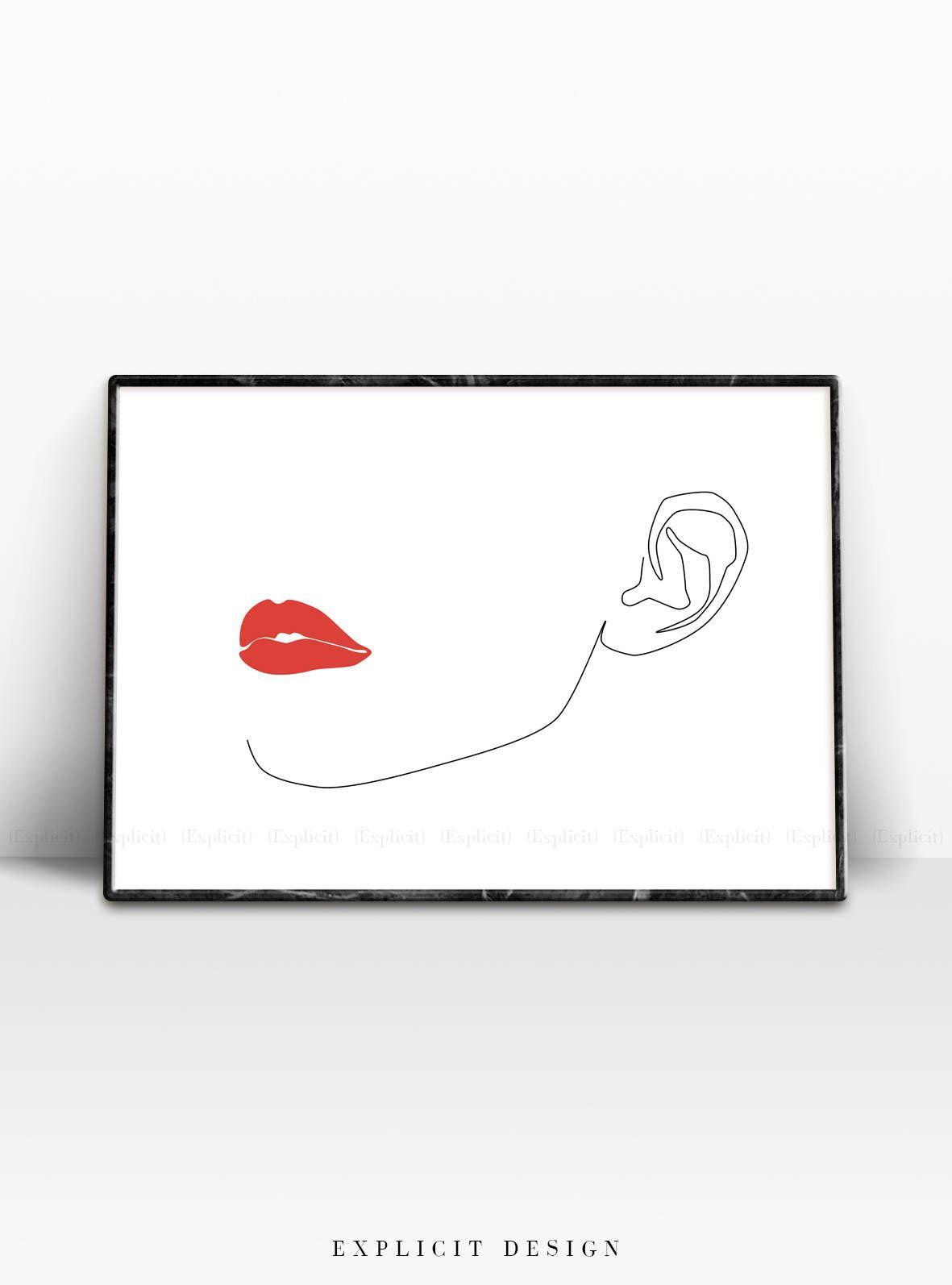 Red Lip Drawing Printable Thin Black Fine Line Fashion Artwork