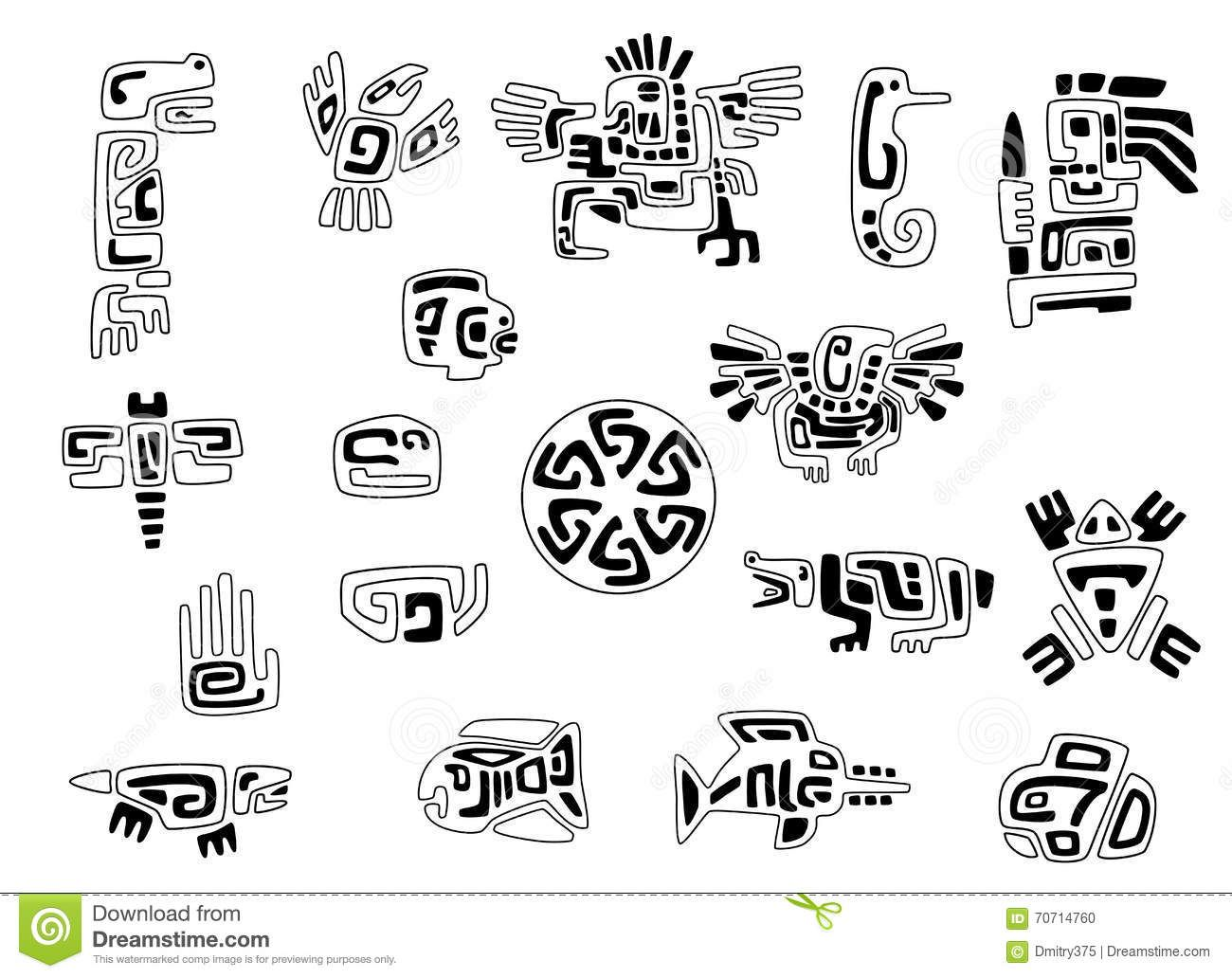 Set Of Stylized Native American Symbols