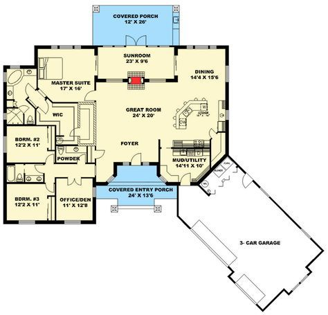 Plan 35523gh Exciting Northwest House Plan With Sunroom Ranch Style House Plans House Plans Floor Plans Ranch