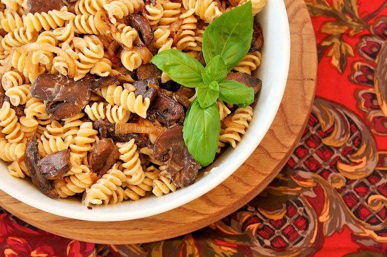 Pasta with Balsamic Vinegar, Mushrooms, and Goat Cheese from Our Family Eats