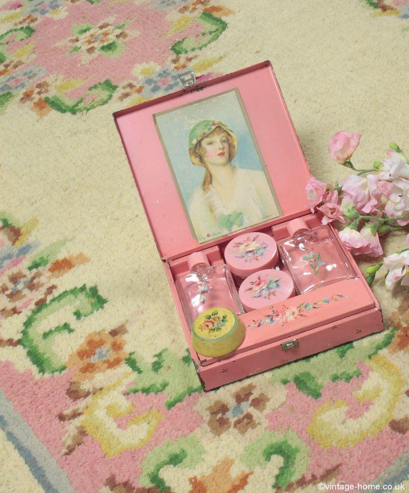 Beautiful Vintage Hand-Painted Vanity Set