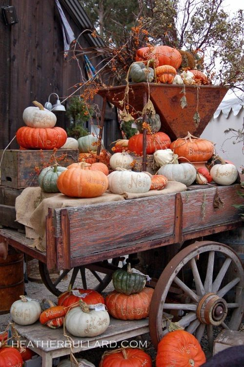 Old wagon filled with autumn decor