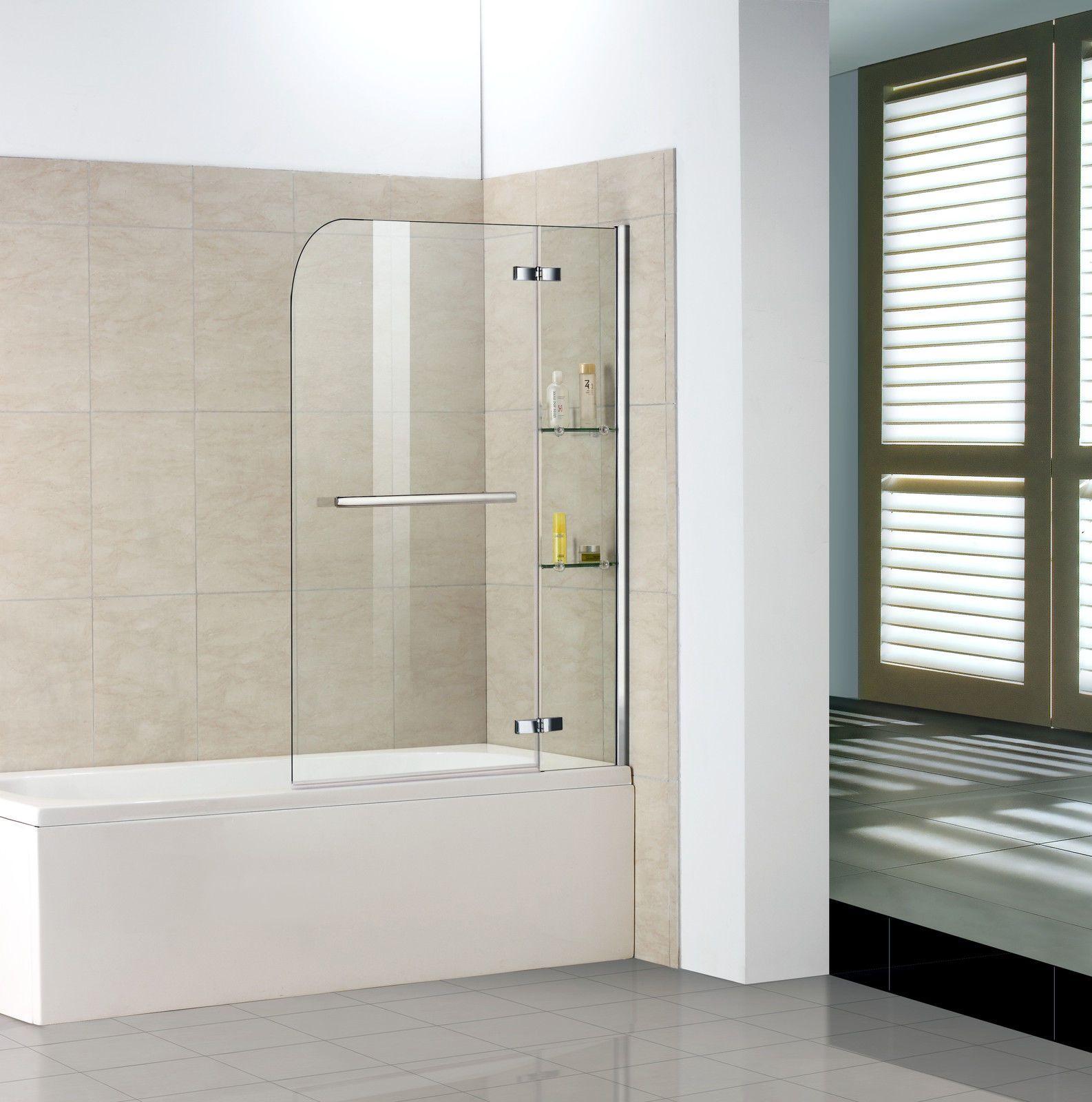 Details zu 100x140cm badewannenaufsatz faltwand duschabtrennung badewannenfaltwand echtglas - Faltwand dusche ...