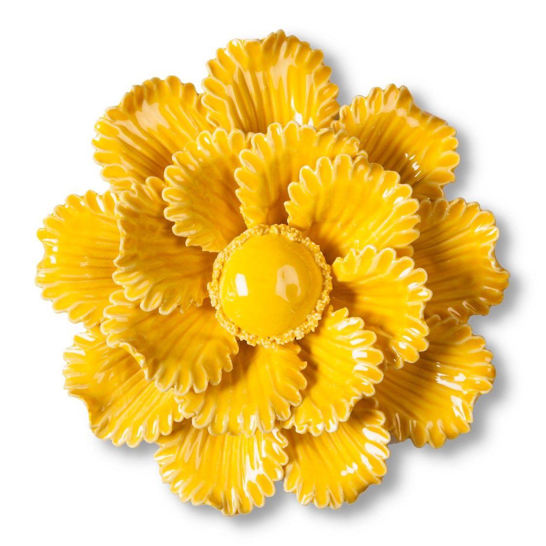 Ceramic Wall Flower Decor: Threshold Ceramic Flower Wall Sculpture - Yellow