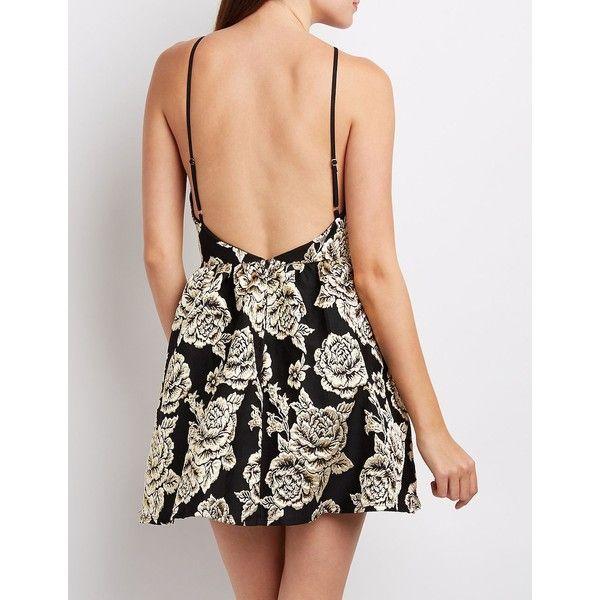 Charlotte Russe Brocade Bib Neck Backless Skater Dress ($20) ❤ liked on Polyvore featuring dresses, charlotte russe dresses, strappy dress, flare dress, skater dresses and red skater dress