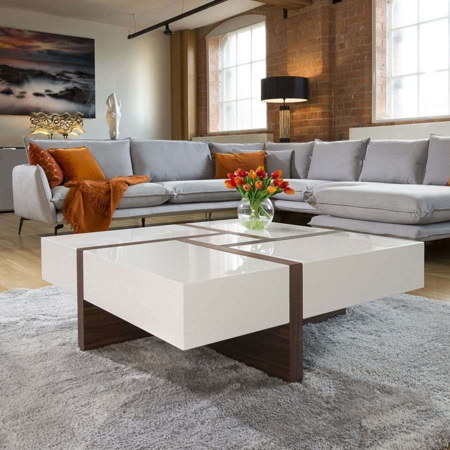 Huge Modern Square 1000mm Coffee Table White High Gloss Walnut Legs Coffee Table Square Coffee Table Coffee Table White [ 900 x 900 Pixel ]