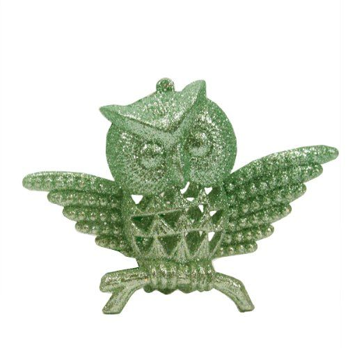Silent Luxury Pastel Green Glittered Owl Christmas Ornament