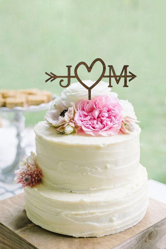 Boda rústica flecha Topper de la torta  Adorno de por WeddingPros