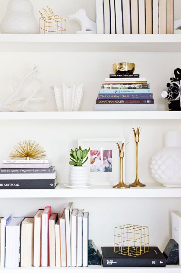 30 Amazing Design Ideas To Make Every Room In Your House Prettier    Gorgeous Styled Bookshelf With Pops Of Gold Metal, And White Ceramic  Decorative Objects