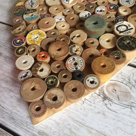 Photo of Sewing Gift, Farmhouse Heart Decor, Sewing Room Decor, Spool Heart, Primitive Heart, Gift for Mom, Craftroom Decor, Christmas Gift for Mom