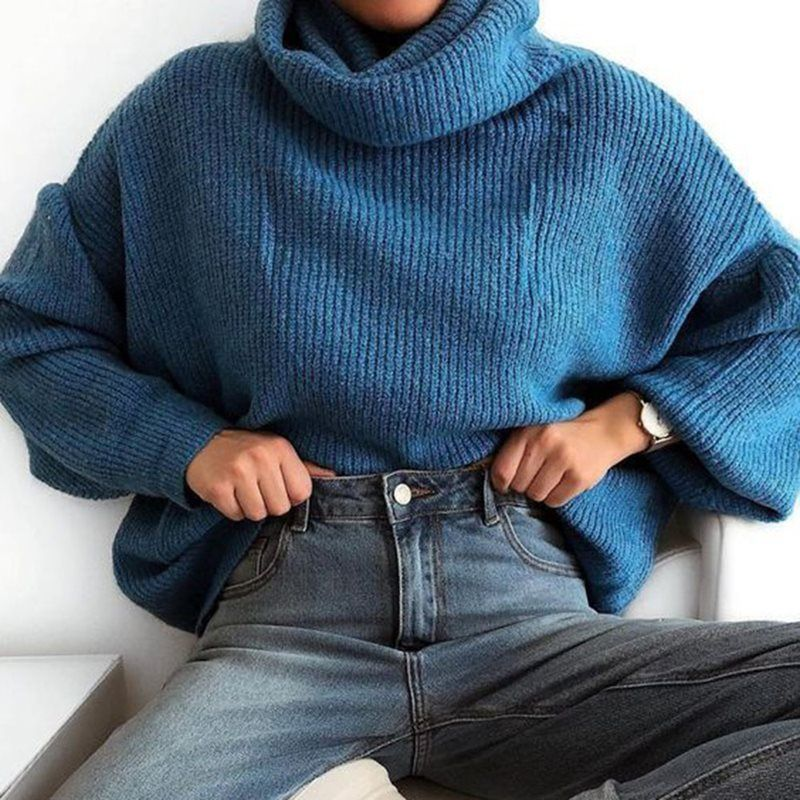 Womens turtleneck oversized jumper Sweater Casual Autumn Winter Jumper Knit Style Pullover