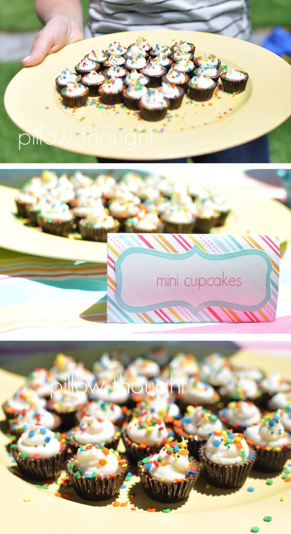 """""""mini cupcakes"""" - just peanut butter cups with a dab of whipped cream and sprinkles. So cute and easy!"""