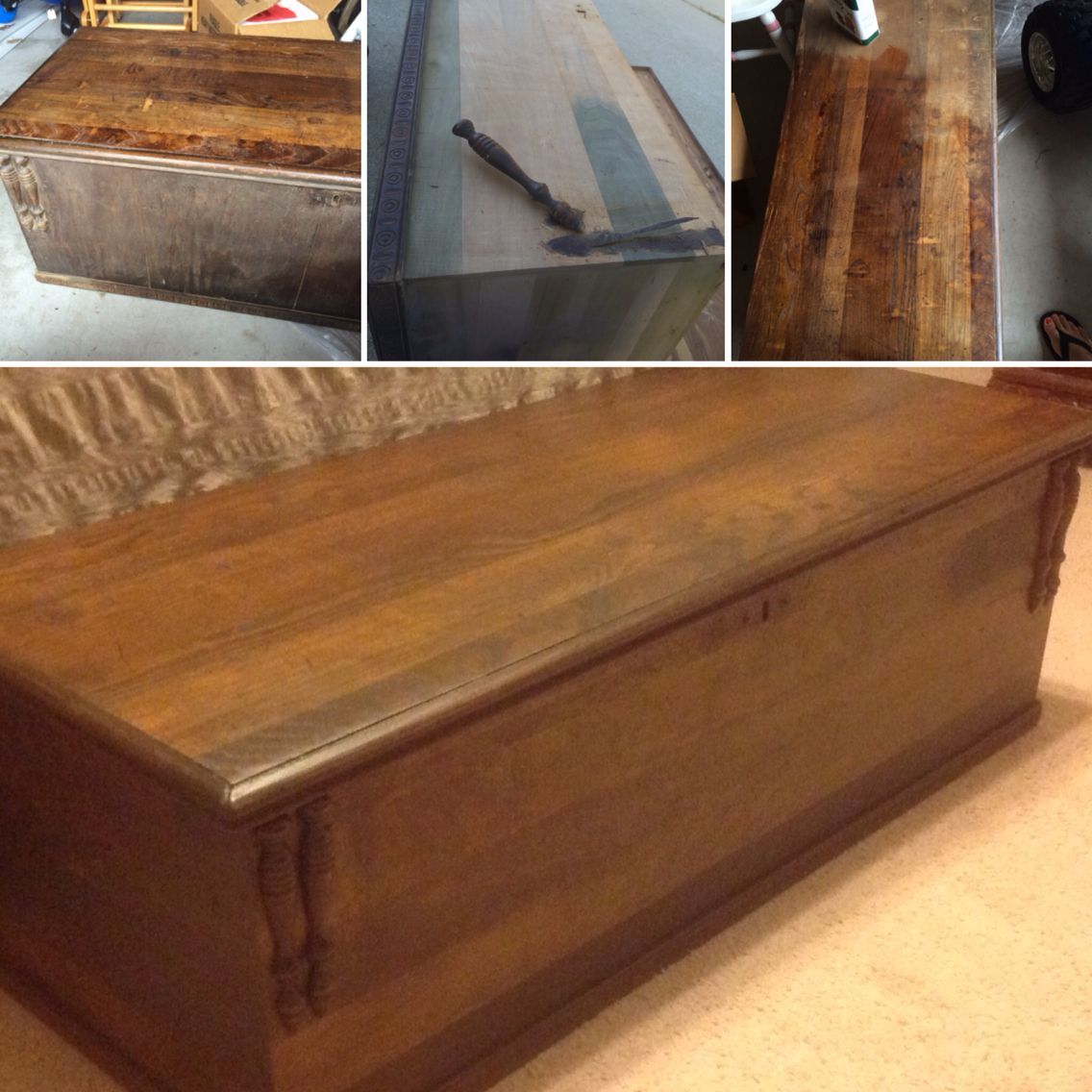 Antique Knickerbocker Cedar Chest Refinished. Stripped The Veneer, Sanded  And Stained In Dark Walnut
