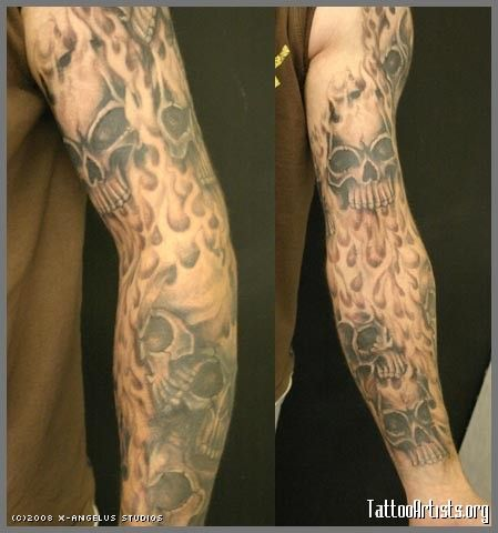 flame sleeve tattoo designs flame and skull tattoo full and half sleeve. Black Bedroom Furniture Sets. Home Design Ideas