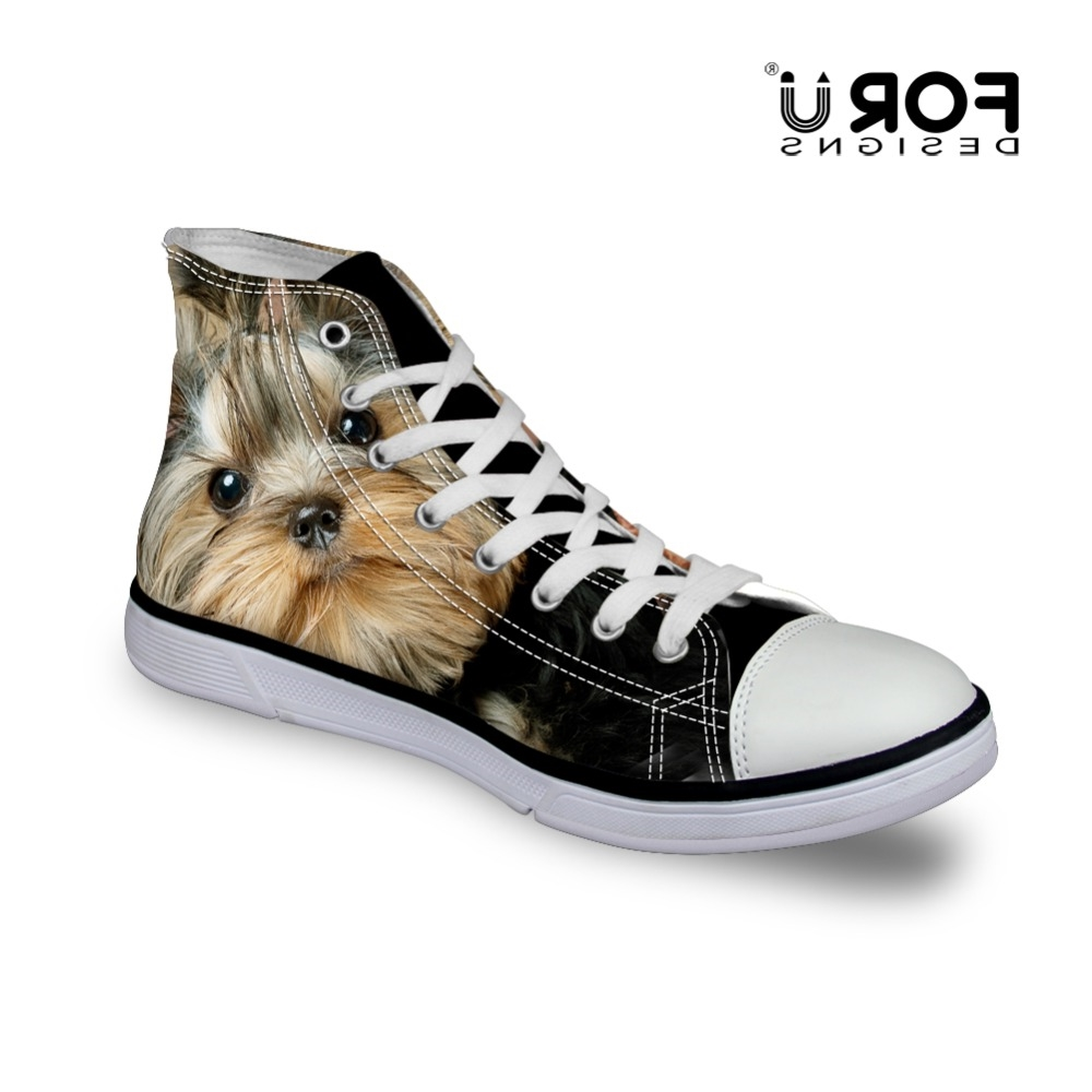 26.79$  Watch now - http://aliv1k.worldwells.pw/go.php?t=32719954895 - Black Men Canvas Shoes Yorkshire Terrier Dog Printing Canvas Shoes for Men High-top Walking Shoes Casual Flat Footwear
