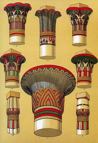 ancient egyptian capitals from the grammar of ornament (1856)