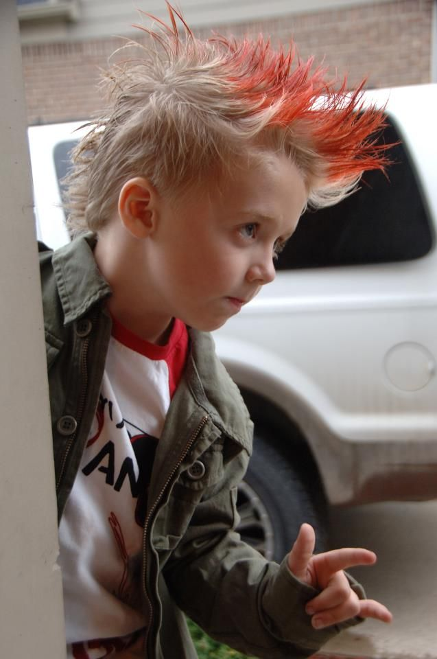A Fun Red Tipped Mohawk For A Great Rock Star Look Even