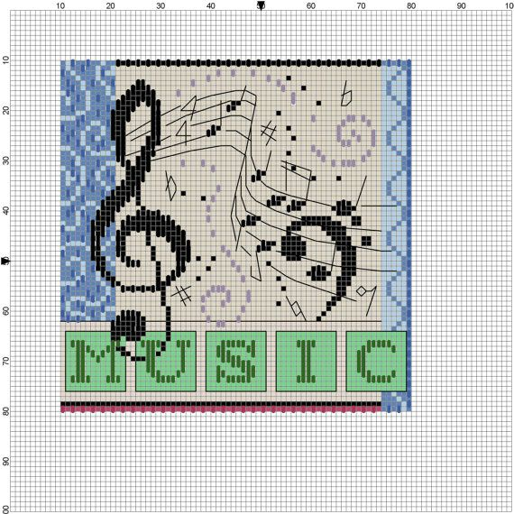 Music  Counted Cross Stitch by Berwickbay on Etsy, $1.50