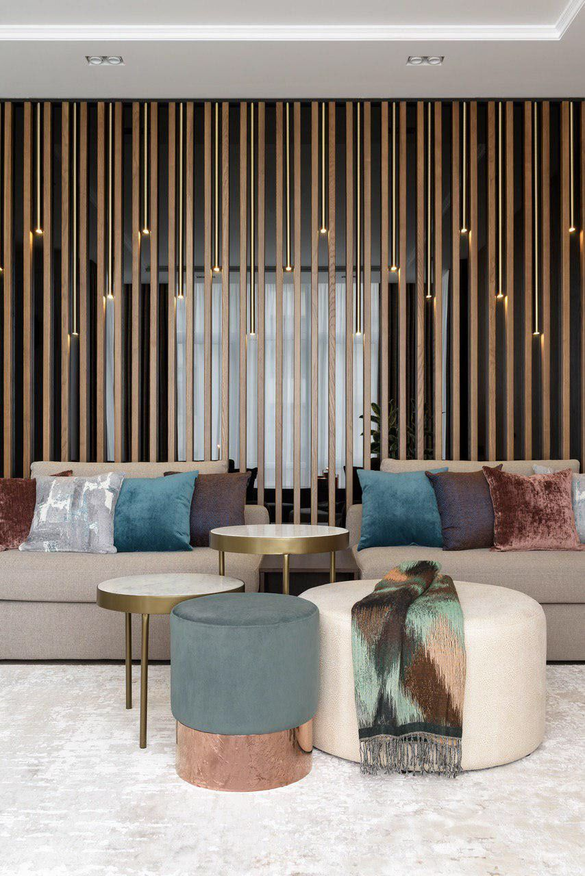 Wall panels Wood, Brass and Glass on Behance | Living room ...