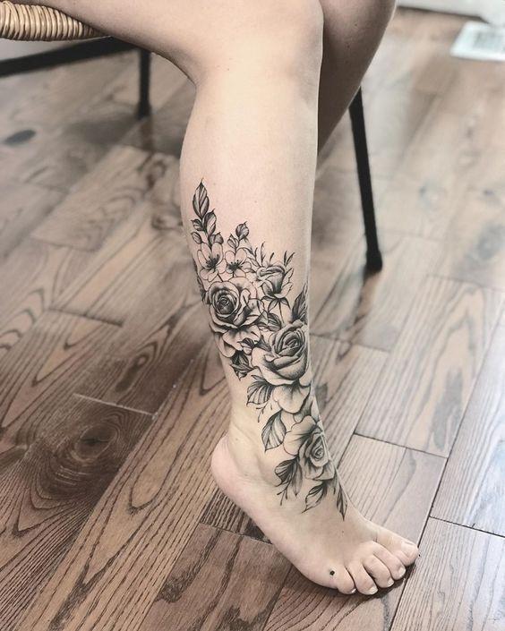 22 Most Gorgeous Flower Tattoos Wrap Around Ankle Tattoos Flower Leg Tattoos Leg Tattoos Women