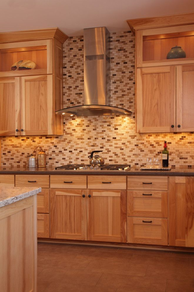 hickory cabinets Kitchen Contemporary with soapstone ...