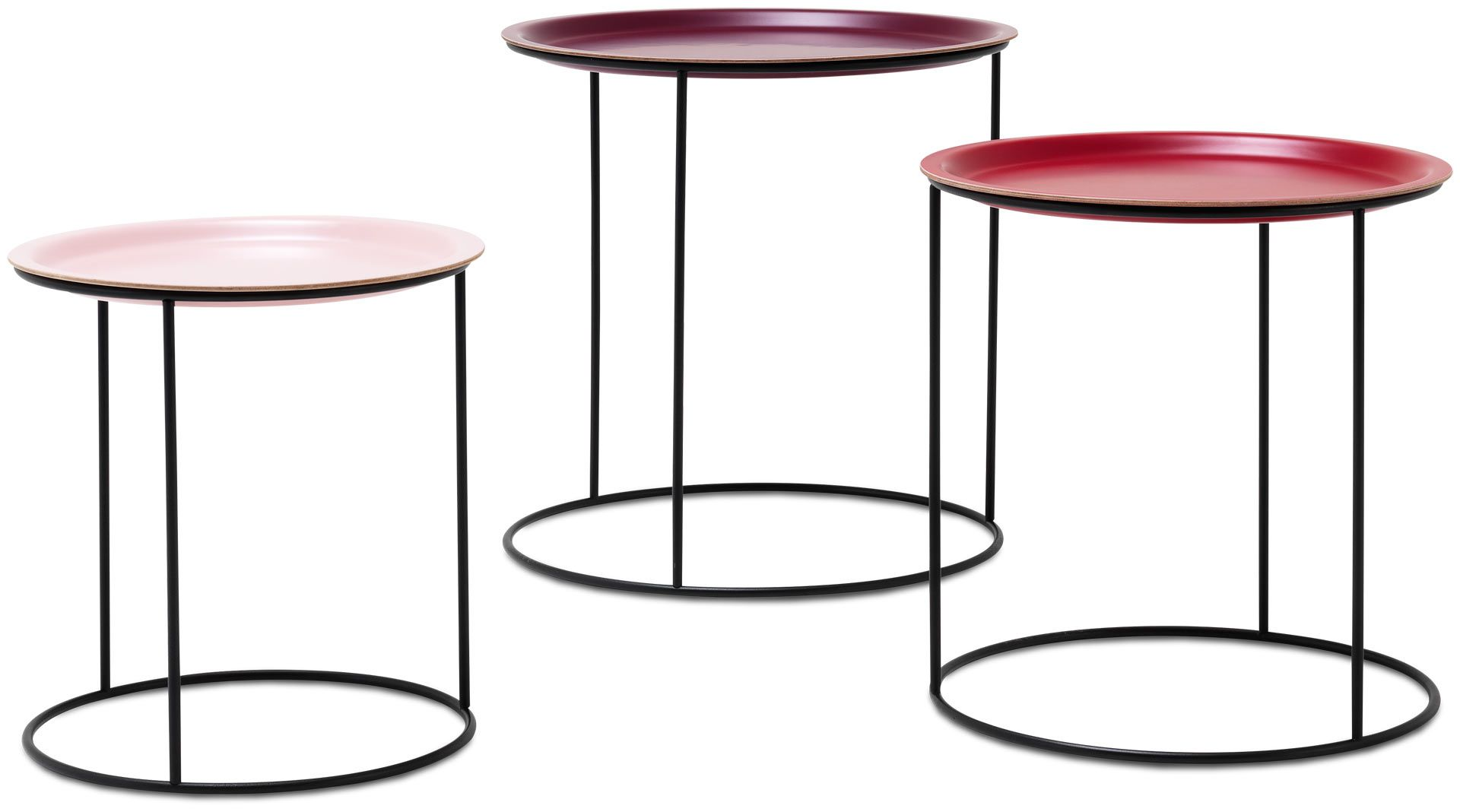 Nest of tables 3 pcs shades of red lacquered matt black