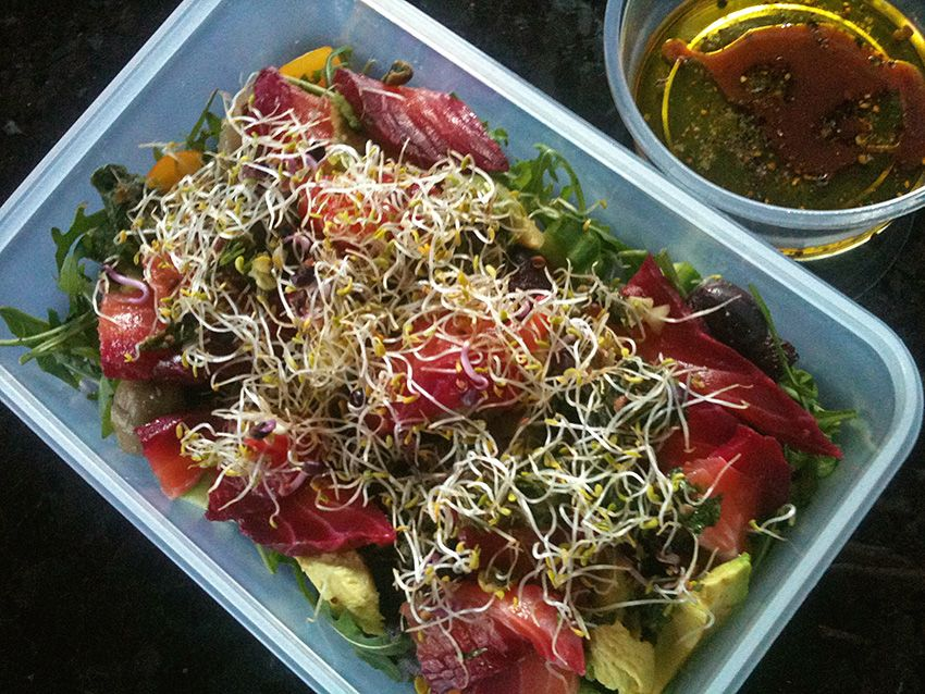 Gravadlax & alfalfa salad lunch box