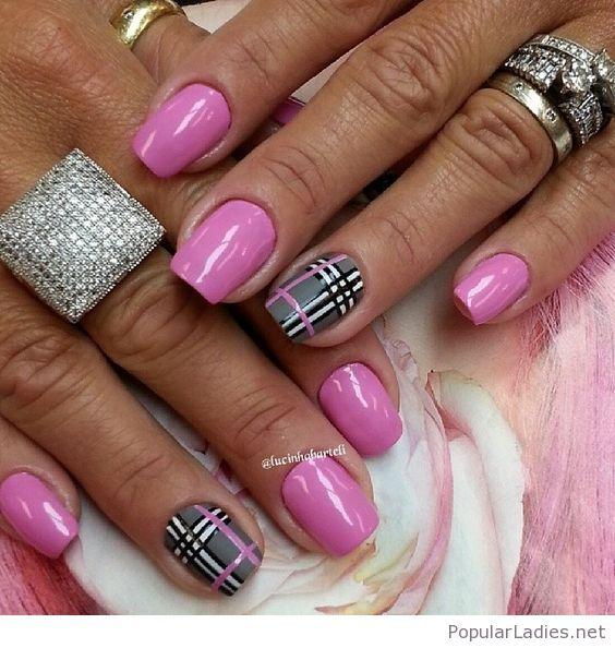 Pink Gel Nails With Plaid Print Plaid Nails Plaid Nail Art Toe Nails