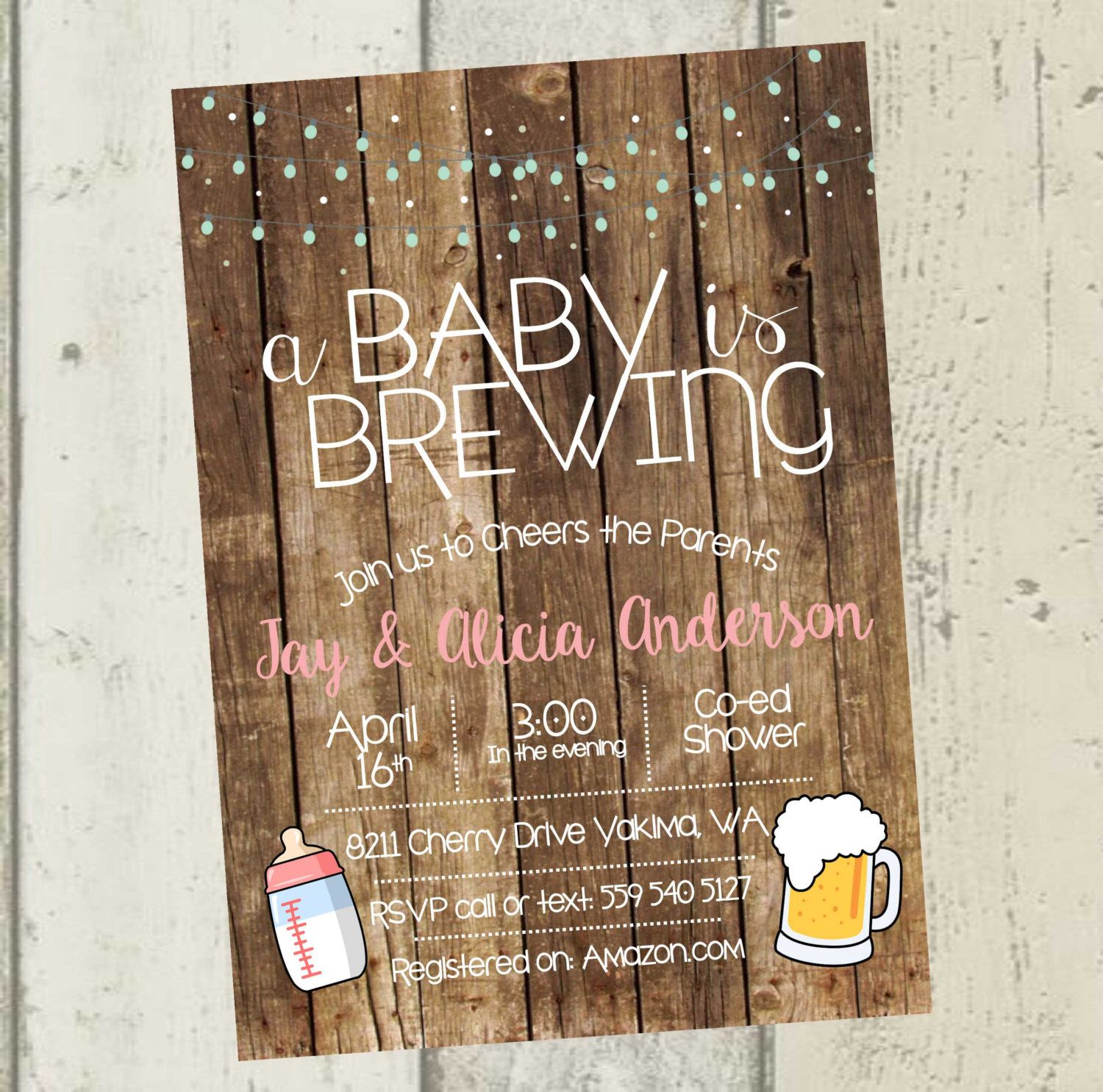 baby shower invitation for twins%0A A Baby is Brewing Invitation  Beer Baby Shower Invitation  Beer Baby Shower   co