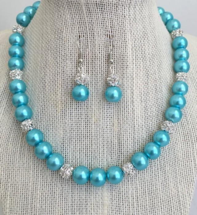 Aqua Blue Bridesmaid Pearl Necklace Set Turquoise Blue Rhinestone