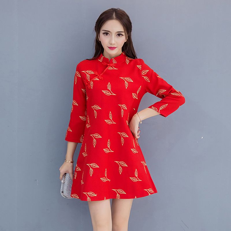Gold Thread Embroidery Loose Vintage Dresses Red Cheongsam Dress Women  Modern Chinese Dress Qipao Robe Chinoise Vestidos Curto a114b30f9d3b
