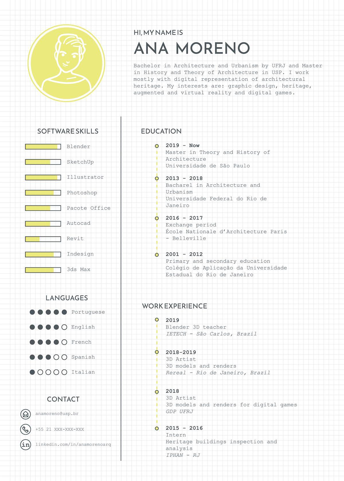 Curriculum Vitae Cv Of Ana Moreno Curriculum Vitae Creative Graphic Design Resume Curriculum Vitae