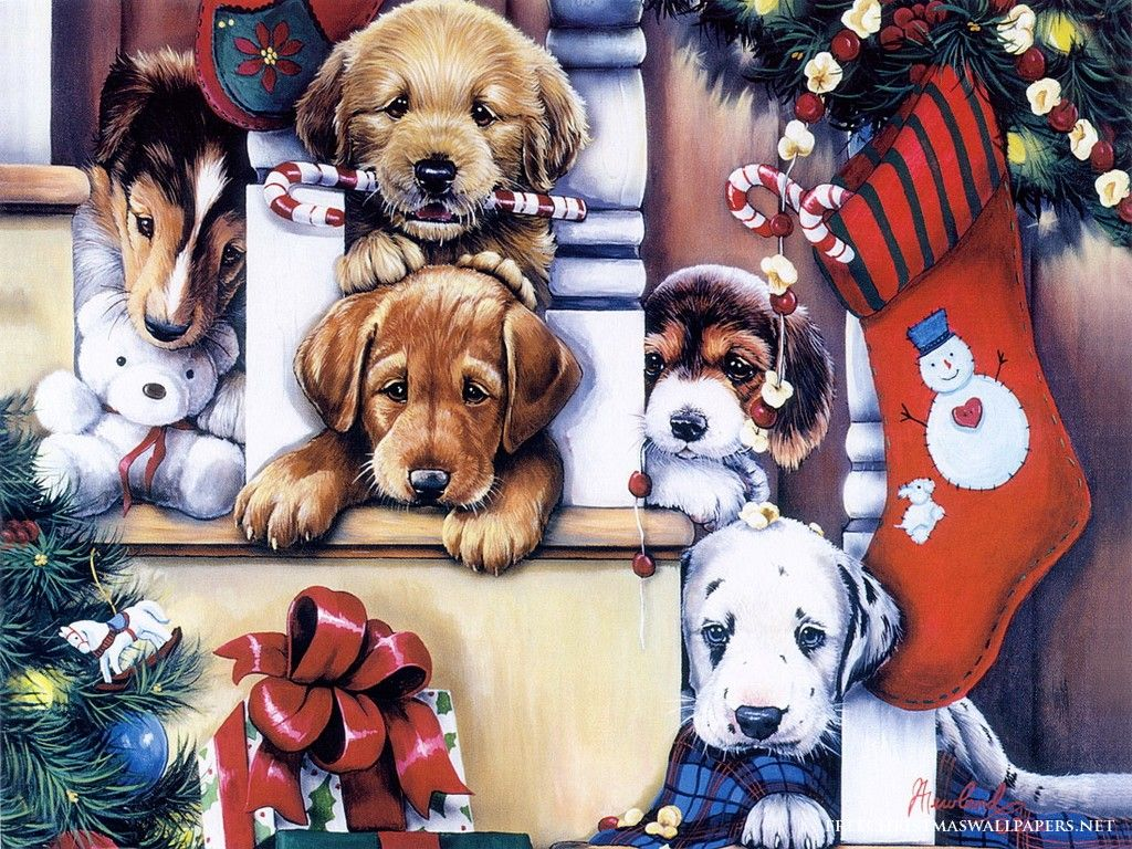 Christmas Dogs Painting Christmas Puppy Christmas Dog Dog Paintings