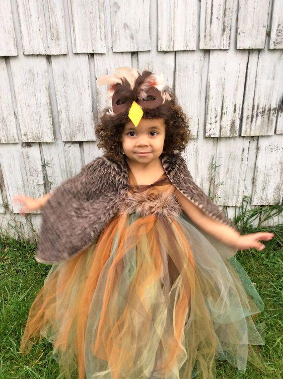 owl costume girls halloween tutu halter dress mask shawl for toddler child kids costume